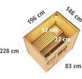 Saunahaus Karibu Opal 1 inkl.9kW Ofen u.ext.Steuerung mit Holztür und Isolierglas wärmegedämmt anthrazit/weiß