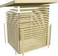 Saunahaus Karibu Theos inkl.9kW Bio Ofen u.ext.Steuerung mit Fenster und Holztür mit Isolierglas wärmegedämmt anthrazit/weiß