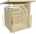 Saunahaus Karibu Topas 3 inkl.9kW Bio Ofen u.ext.Steuerung mit Vorraum und Fenster mit Holztüre und Milchglas