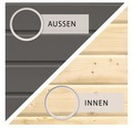 Saunahaus Woodfeeling Turmalin 1 inkl.9kW Ofen u.ext.Steuerung ohne Vorraum und Fenster mit Holztüre und Isolierglas wärmegedämmt anthrazit/weiß