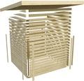 Saunahaus Karibu Topas 1 ohne Ofen mit Vorraum und Holztüre mit Isolierglas wärmegedämmt anthrazit/weiß