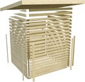 Saunahaus Karibu Topas 3 inkl.9kW Bio Ofen u.ext.Steuerung mit Vorraum und Fenster mit Holztüre und Isolierglas wärmegedämmt anthrazit/weiß