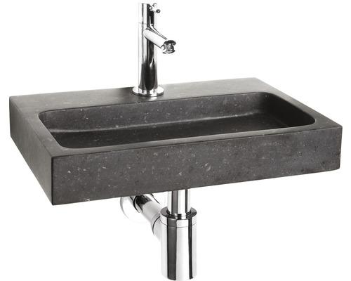 Handwaschbecken-Set Flat 38x24 cm Naturstein schwarz inkl. Ablaufventil,Designsiphon,Standventil chrom