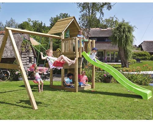 Spielturm Jungle Gym Cubby Holz mit Doppelschaukel, Sandkasten und Rutsche in der Farbe hellgrün, 381x399x305 cm
