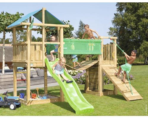 Spielturm Jungle Gym Hut Holz mit Hängebrücke, Sandkasten und Rutsche in der Farbe hellgrün, 391x397x286 cm