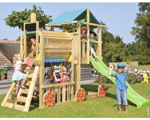 Spielturm Jungle Gym Hut Holz mit Zuganbau, Sandkasten und Rutsche in der Farbe hellgrün, 318x326x286 cm