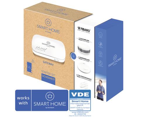 Starter Set Sicherheit SMART HOME by hornbach (Gateway, Fibaro Tür-Fensterkontakt, Fibaro Rauchmelder, Fibaro Wassermelder)
