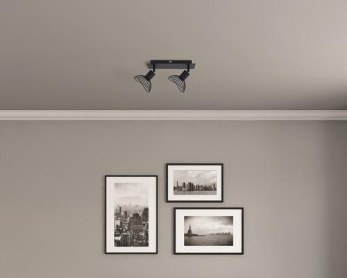 Wandspot FLAIR Acamar 2-flammig E14 40 W Metall schwarz B 275 mm