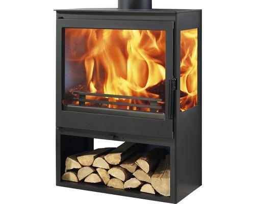 Kaminofen Panadero Ambar Stahl schwarz 7,1 kW mit Holzfach