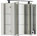 LED-Spiegelschrank Marlin 80x13.2x73.4 cm weiß matt 3-türig