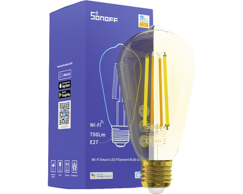 Sonoff Smarte LED-Lampe transparent, E27, A60, 7 W, 806 Lm, warm/kalt