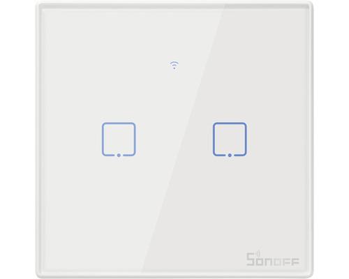 Unterputz Steuereinsatz Sonoff T2EU2C-TX Smart-Home Unterputz-Wandschalter 2 Kanal weiss, mit Funkempfän