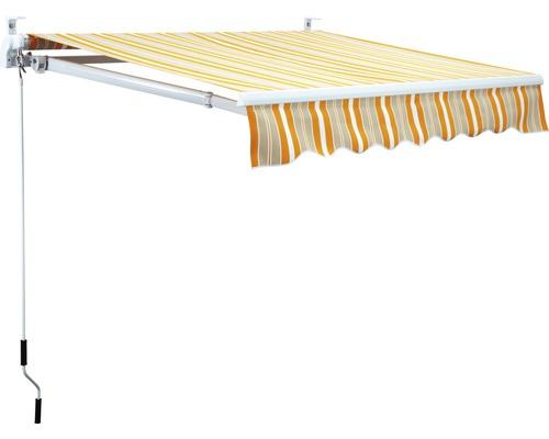 Gelenkarmmarkise 5x3 m Stoff Orange/Grau/Weiß gestreift