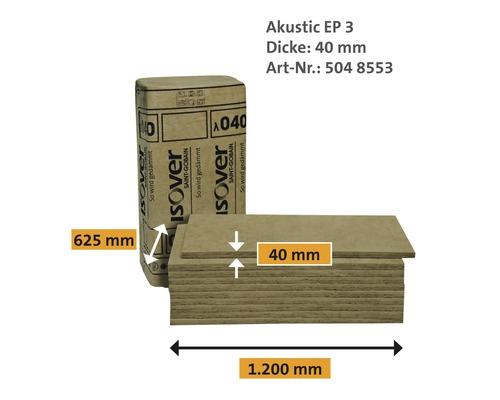 Estrichdämmplatte ISOVER Akustic EP3 Trittschalldämmung für schwimmende Estriche WLG 040 1250 x 600 x 40 mm