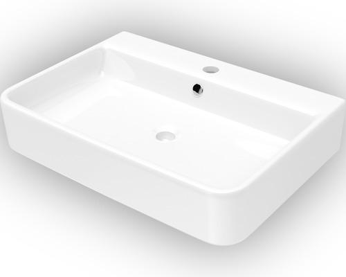 Aufsatzwaschbecken Jungborn Salvi 55,5x40 cm weiß mit Nano Glasur