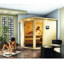 Elementsauna Karibu Sparset Siona 3 inkl. 9 kW Bio Ofen u.ext.Steuerung mit Dachkranz und bronzierter Ganzglastür