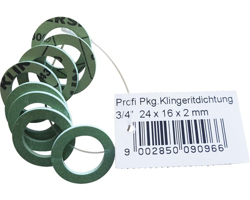 """Klingerit Dichtung für Ü-Mutter 3/4"""" 24x16x2 mm 8 Stück"""
