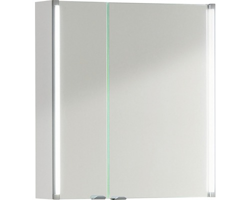 LED-Spiegelschrank Fackelmann LED-Line 61x67x16,5 cm 2-türig weiß