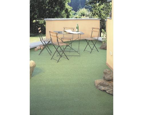 Kunstrasen Hampton mit Drainagenoppen moosgrün 400 cm breit (Meterware)