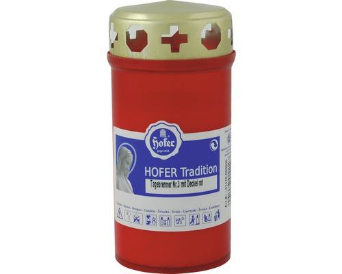 Grabkerze 3-Tage Brenner mit Deckel, rot