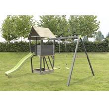 Spielturm EXIT Aksent Holz mit Sandkasten, Doppelschaukel, Rutsche grün