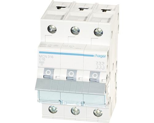 Leitungsschutzschalter C 16A 3-polig Hager MCN 316