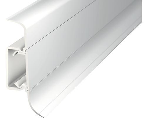 Klemmsockelleiste mit Kabelführung PVC weiß 225x50x2500 mm