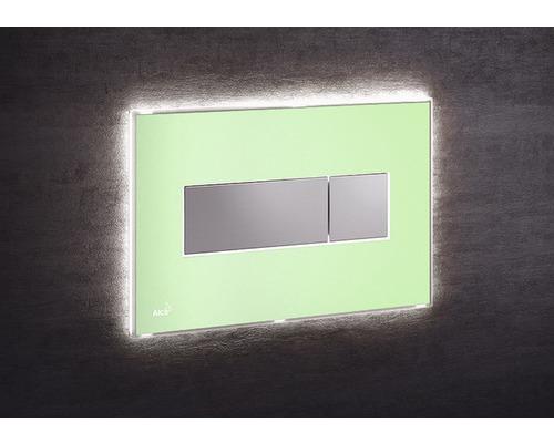 Betätigungsplatte Alca Plast Komfort mit weißer Beleuchtung grün/chrom