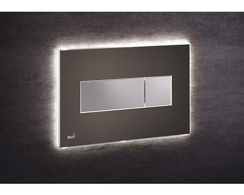 Betätigungsplatte Alca Plast Komfort mit weißer Beleuchtung braun/chrom