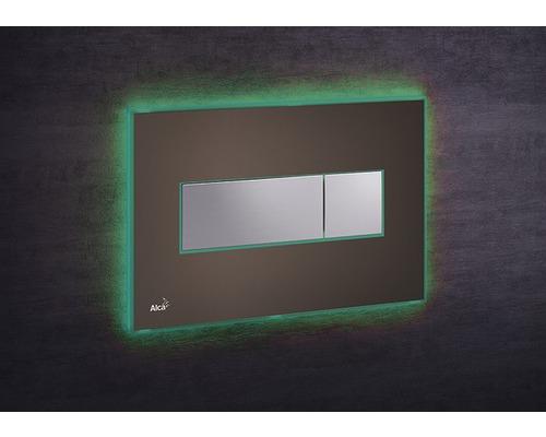 Betätigungsplatte Alca Plast Komfort mit grüner Beleuchtung braun/chrom