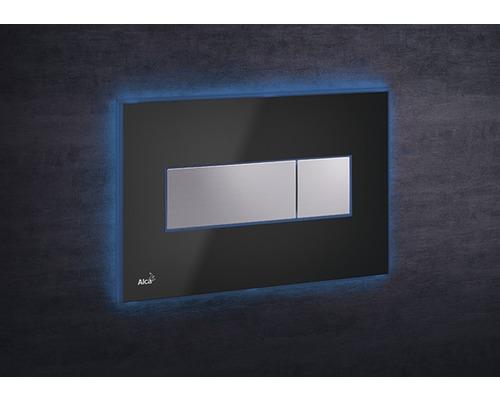 Betätigungsplatte Alca Plast Komfort M1474-AEZ111 mit blauer Beleuchtung schwarz/chrom