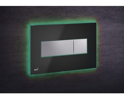 Betätigungsplatte Alca Plast Komfort M1474-AEZ112mit grüner Beleuchtung schwarz/chrom