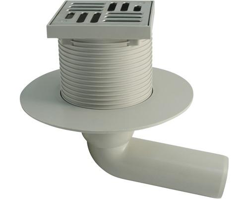 Haus- und Hofablauf 100x100 mm DN 50 Grau mit waagrechten Ablauf ohne Geruchsverschluss