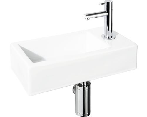 Handwaschbecken-Set Sarthe 37,5x18,5 cm weiß inkl. Ablaufventil,Designsiphon,Standventil chrom