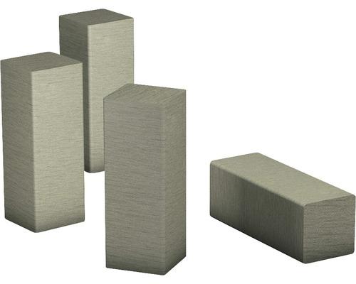 Eckenstäbchen für Sockellleiste, MDF edelstahl gebürstet 58x20 mm