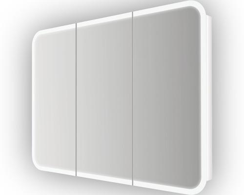 LED-Spiegelschrank Baden Haus Soft 95x70x13 cm 3-türig weiß