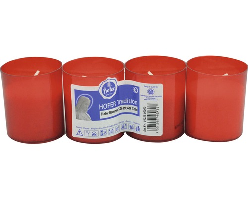 Grabkerzen Brenner rot, 4 Stück
