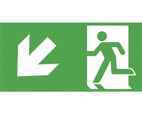 Notausgangsschild Treppe runter links Grün/Weiß 300 x 150 mm