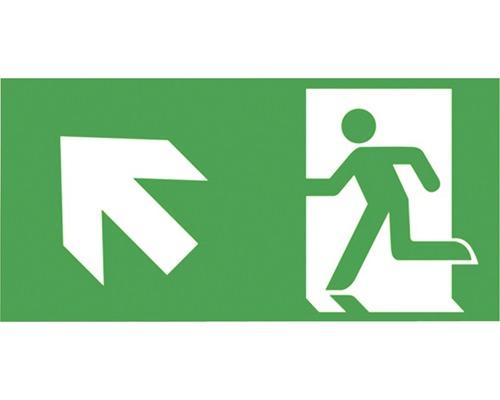 Notausgangsschild Kunststoff Treppe rauf links Grün/Weiß 300 x 150 mm