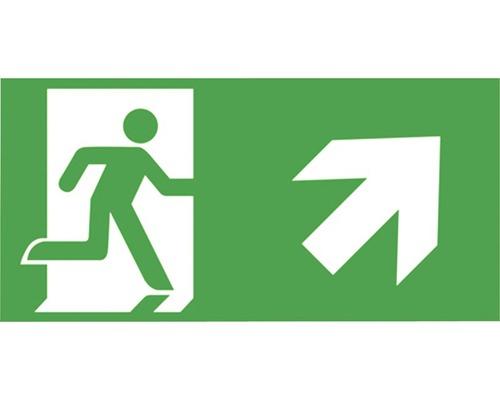 Notausgangsschild Treppe rauf rechts Grün/Weiß 300 x 150 mm
