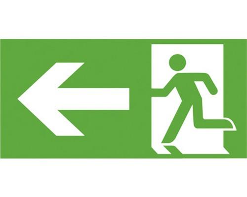Notausgangsschild links Kunststoff Grün/Weiß 300 x 150 mm