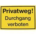 """Verbotsschild """"Privatweg Durchgang verboten"""" Kunststoff 200 x 300 mm"""