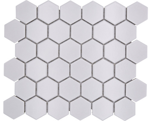 Keramikmosaik Hexagon uni weiß matt 32,5x28,1 cm