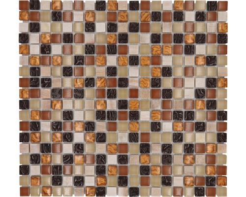 Glasmosaik mit Naturstein XCM M830 30,5x32,5 cm beige-braun