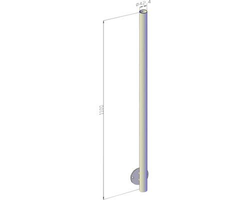 Geländerpfosten mit Seitenplatte Ø 42,4 mm x 1,1m / ohne Bohrung