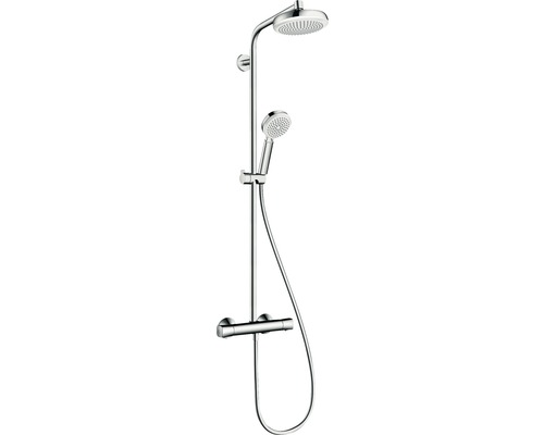 Duschsäule hansgrohe Crometta Showerpipe 160 1jet 27264400 mit Thermostat weiß/chrom