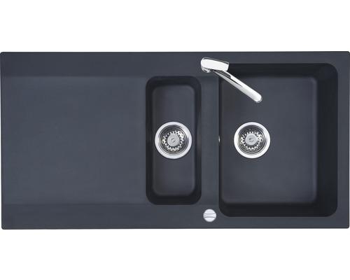 "Spüle Eurodomo Capri 60 Eurostone granit-graphit mit Siebkorb-Excenterventil 3 ½"""
