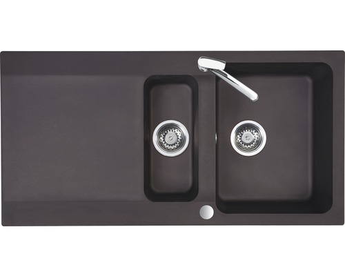 "Spüle Eurodomo Capri 60 Eurostone granit-espresso mit Siebkorb-Stopfenventil 3 ½"""