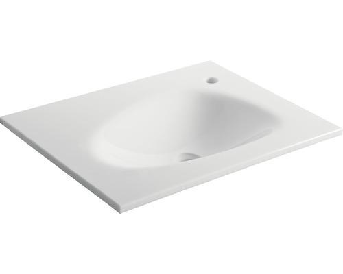 Aufsatzwaschbecken basano Trapani 60x46 cm Glass-Stone weiß
