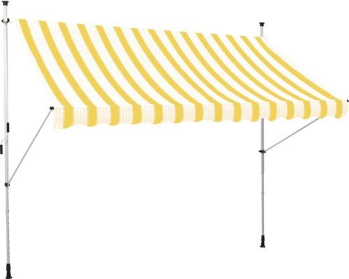 Klemmmarkise (Balkonmarkise) 2,0x1,2 Stoff Gelb / Weiß gestreift (Bausatz)